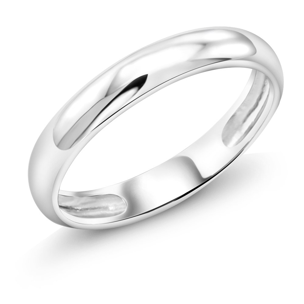 18K Solid White Gold 2MM Thick High Shine Wedding Band With 18K Stamp