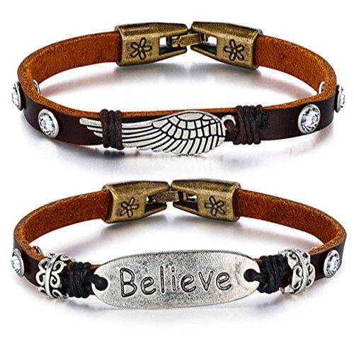 2 Pcs Men Women Genuine Leather Bracelet Believe & Angel Wing Braided Cuff Bangle Bracelet