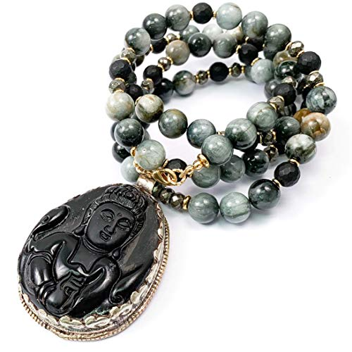 Obsidian Carved Buddha Pendant on Hawk's Eye & Onyx Necklace - 33 Inches Long Handmade Necklace by Miller Mae Designs ()