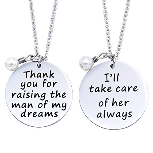 O.RIYA Thank You for Raising The Man of My Dreams, I Will Take Care for Her Always Pendant Necklaces Set (Grey)