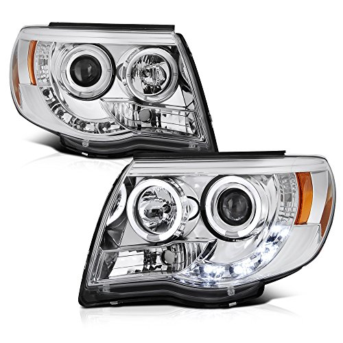 [For 2005-2011 Toyota Tacoma Pickup Truck] LED Halo Ring Chrome Projector Headlight Headlamp Assembly, Driver & Passenger Side