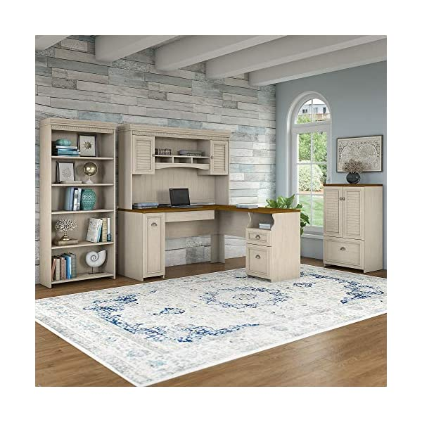 Bush Furniture Fairview 60W L Shaped Desk and Storage Cabinet with Drawer in Antique White and Tea Maple
