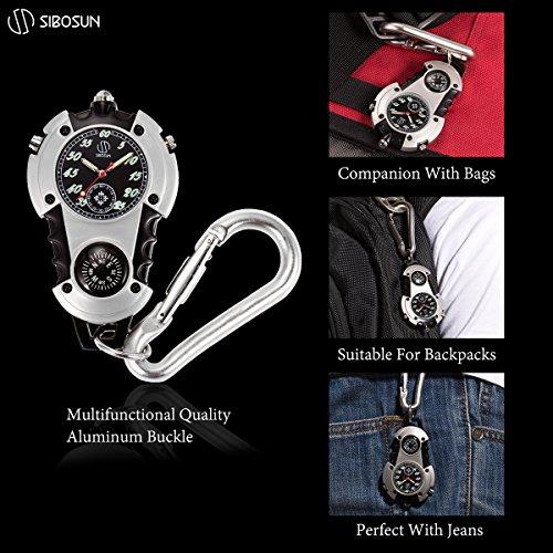 SIBOSUN Watch Company Mini Clip Microlight Nite Glow Luminous Clip on Pocket Watch Black by SIBOSUN (Image #4)