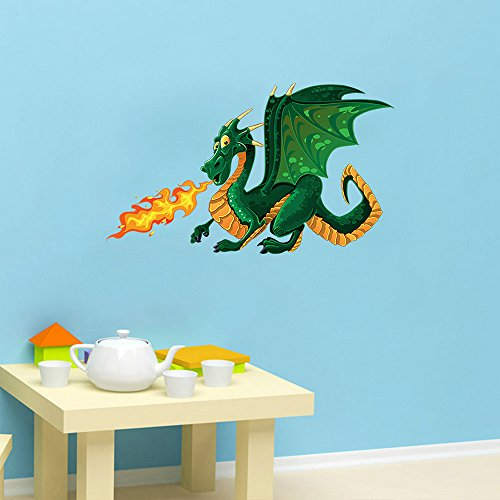 DecalMile Green Dragon Wall Decals Kids Room Wall Decor Peel and Stick Removable Wall Stickers for Kids Nursery Bedroom Living (Dragon Wall Stickers)