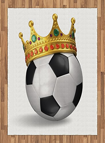 King Area Rug by Ambesonne, Football Soccer Championship Inspired Ball Crown with Ornaments Image Print, Flat Woven Accent Rug for Living Room Bedroom Dining Room, 5.2 x 7.5 FT, Black White and Gold by Ambesonne