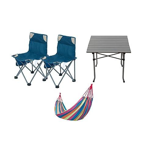 Gpzj Silla Plegable portátil y Mesa, sillas de Camping de Verano ...