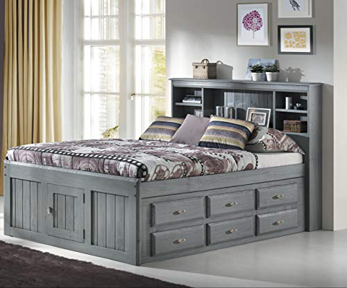 American Furniture Classics 3221-K6 Captains Bed, Charcoal - Pedestal Bed Drawers