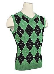 Men\'s Argyle Sweater Golf Vest - Black/Green/White Overstitch (Large)