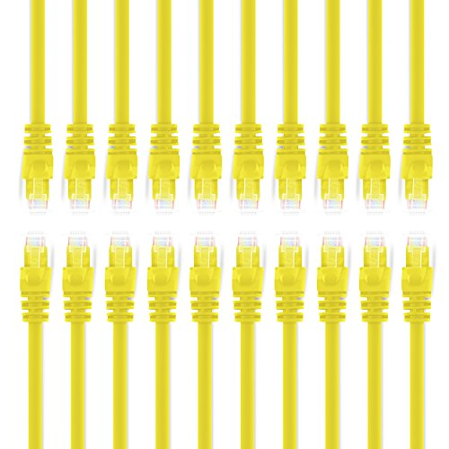 GearIT 20-Pack, Cat5e Ethernet Patch Cable 10 Feet - Snag...