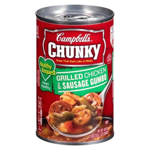 Campbell's, Chunky, Healthy Request, Grilled Chicken & Sausage Gumbo, 18.8oz Can (Pack of 6) (Chunky Healthy)