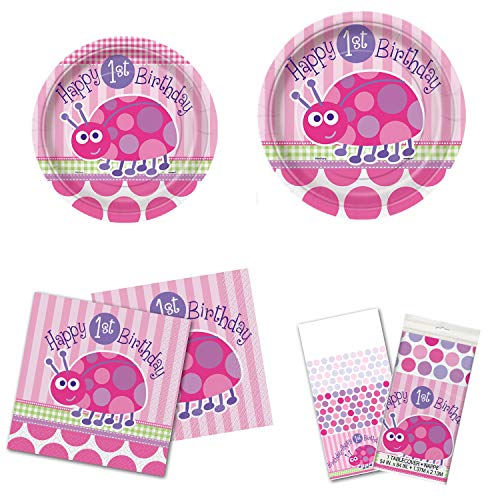 Unique First Birthday Ladybug Party Bundle | Luncheon & Beverage Napkins, Dinner & Dessert Plates, Table Cover, Cups | Great for Girly/Pink Themed Parties ()