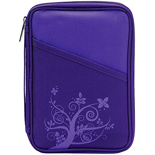 Royal Purple Reinforced Polyester Bible Cover Case with Handle, -