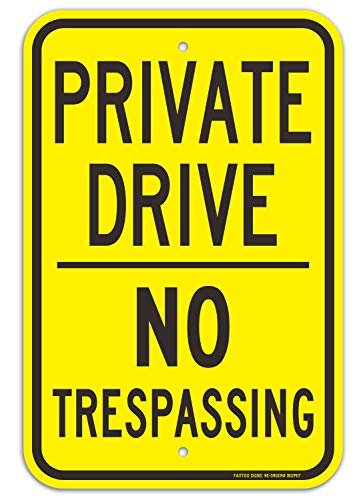 Faittoo Private Drive Sign, No Trespassing Sign, 18 x 12 Inches Engineer Grade Reflective Sheeting Rust Free Aluminum, Weather Resistant, Waterproof, Durable Ink, Easy to Mount, Indoor & Outdoor Use (Drive Sign Private)
