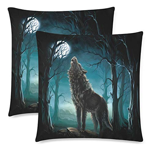 Werewolf Wolf in Forest Howling to The Full Moon Pillowcase Pillow Cushion Case Cover Twin Sides, Wild Animal Decor Polyester Zippered Throw Pillow Case Decorative, Set of 2 20x20 inch