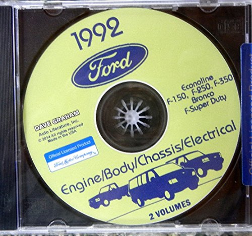 1992 FORD TRUCK, PICKUP & VAN FACTORY REPAIR SHOP & SERVICE MANUAL CD - INCLUDES Bronco, F-150, F-250, F350, Econoline E-150, E-250, E-350, F-Super Duty -COVERS Engine, Body, Chassis & Electrical. 92