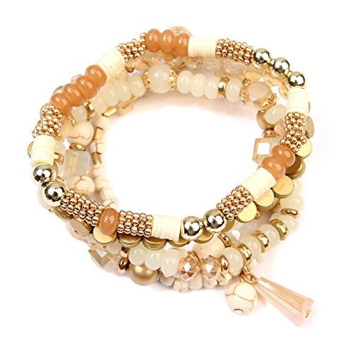 RIAH FASHION Bead Layering Multi Color Statement Bracelets - Stackable Beaded Strand Stretch Bangles (Natural) - Beaded Stretch Bangle Bracelet