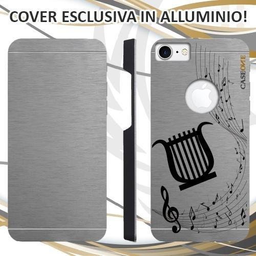 CUSTODIA COVER CASE LIRA MUSICA NOTA PER IPHONE 7 ALLUMINIO TRASPARENTE