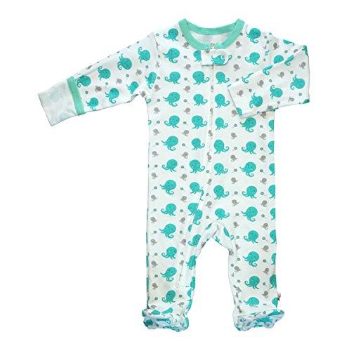 Babysoy Organic Animal Pattern Zipper Footie (0-3 Months, -