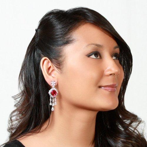 Estate Jewelry: Belina's Fancy CZ Dangle Earrings - Ruby