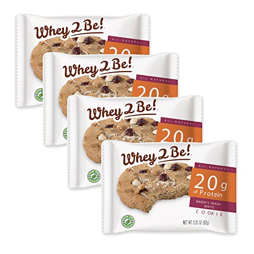 Cheap Whey2Be, Bakers Trash White, Whey Protein Cookie – Nutritious Snacks for an Active Lifestyle – Build, Retain, and Restore Muscle, 3.3 oz (4 cookies)