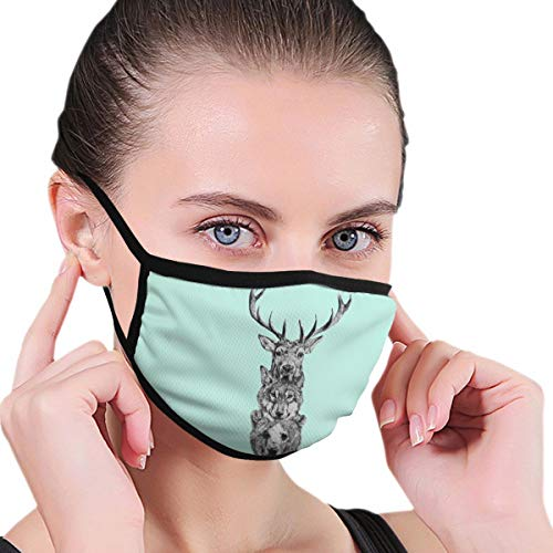 Sskusui Deer Wolf Bear Printed Mouth Mask,Unisex Mask Personality Print Anti-Pollen PM2.5 Mask Anti-dust and Anti-infective Polyester Face Mask Face for Men and Women
