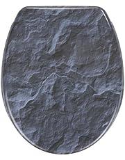 Wenko, Slate Rock, wc-bril met softclose, wc-deksel met leisteen-motief, duroplast, 36,5 x 44,5 cm