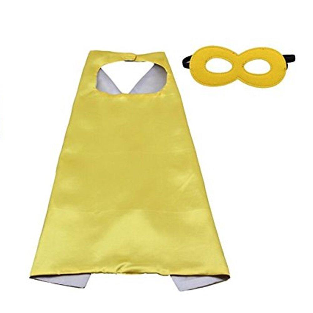 Soシドニースーパーヒーロープリンセスソリッドカラーケープ&マスクセット子供用ハロウィンコスチューム  Yellow & Silver B074Y6C688
