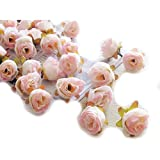 simulation Rose Flower - SODIAL(R)100pcs Multi Color Small Tea Rose Diy Rose Flower Silk Flowers Artificial Flowers Heads For Home Wedding Decoration Flower Head£¨Flesh pink£©