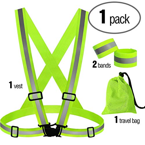 PeerBasics, 1 Pack Runner Safety Vest with Mesh Bag and Adjustable Bands, Lime Reflective High Visibility, Hi Vis Silver Strip, Men & Women, Work, Cycling, Running (Lime Elastic, 1) (Fluorescent Lime Safety Vest)