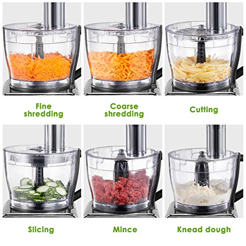 Food Processor 12-Cup, Multi-Function Food Processor 6 Main Functions with Chopper Blade, Dough Blade, Shredder, Slicing Attachments, 3 Speed 600W Powerful Processor, Silver by Tibek (Image #1)