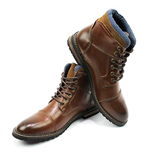 Lace Modern Derby Mens AZAR Ankle up Toe Boot Toe Round Brown MAN Cap nxwnS1pq8g