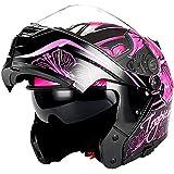 1Storm Motorcycle Modular Full Face Helmet Flip up Dual Visor/Sun Shield Lady Purple Flower Pink