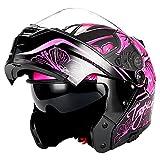 purple riding gear - 1Storm Motorcycle Modular Full Face Helmet Flip up Dual Visor/Sun Shield Lady Purple Flower Pink