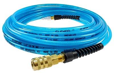 "Coilhose Pneumatics PFE6050TS15X Flexeel Reinforced Polyurethane Air Hose, 3/8"" ID, 50' Length with 1/4"" Industrial Coupler & Connector, Transparent Blue, Polyurethane"