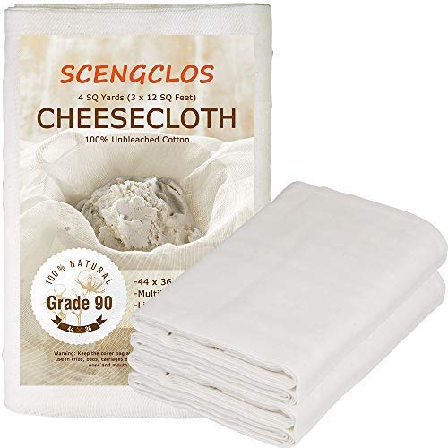 Cheesecloth, Grade 90, 36 Sq Feet, 100% Unbleached Cheesecloth Fabric for Cooking, Washable & Reusable Cotton Strainer, Filter(4 Sq -