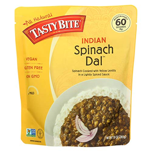 Kashmir Spinach - Tasty Bite Entree - Indian Cuisine - Spinach Dal - Indian - 10 oz - case of 6 - Gluten Free -