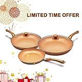 KUTIME Copper 6pcs Cookware Set Ceramic Nonstick Frying Pan | Multi-Purpose Round Aluminum