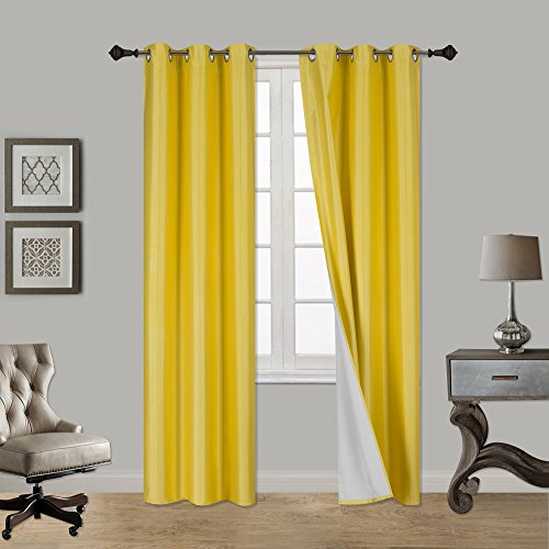 Back Foam Drape - LuxuryDiscounts 1 Piece Thick Faux Silk Blackout Insulated Room Darkening Grommet Top Window Curtain Panel Drapes with Foam Back Layer Protection (Yellow, 37
