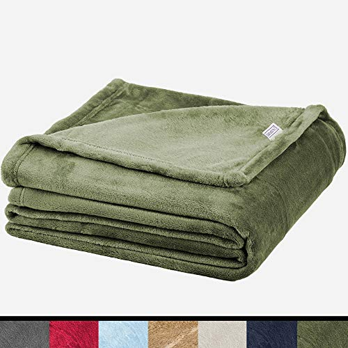 Soft Fleece Throw Blanket - Plush Blanket for Bed or Couch - Fuzzy Flannel Blanket for Bedroom, Living Room and Travel - Olive, Queen Blanket by Blissford ()