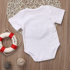 BiggerStore Funny Newborn Infant Baby Girls Boys Short Sleeve Bodysuit Romper White Outfits Clothes