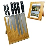 Natural Bamboo Magnetic Knife Dock, Wood Cutlery Counter Top Block, Kitchen Scissor Holder, Durable iPad Tablet Recipe Cook Book Stand