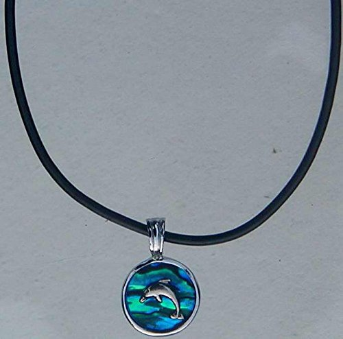 Solid Rock Jewelry Necklace-Blue Paua Shell-Dolphin