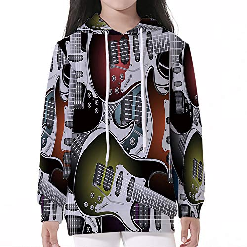 Price comparison product image Young Boy Girl Kids,Popstar Party,Pile of Graphic Colorful Electric Guitars Ro