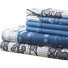 Spirit Linen, Inc Hotel 5th Ave Twin Blue Branches 4 Piece Bellagio Home Collection Sheet Set
