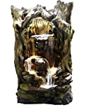 Alpine Corporation WIN1070 Rainforest Waterfall Tree Fountain with 12 Yellow LED Lights