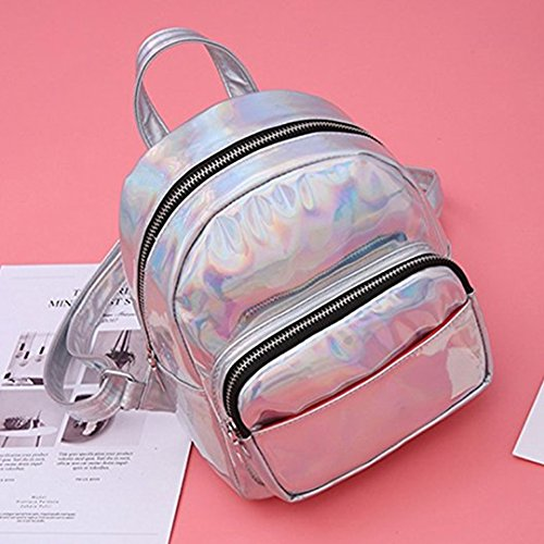 Hologram Orfila Bag Casual Handbags Daypack School Backpack Shoulder Women PU Mini Laser Travel Silver Leather ZAq4xUw