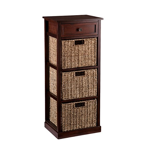 Southern Enterprises Kenton 3-Basket Storage Tower, Brown (Drawers Small Wicker)