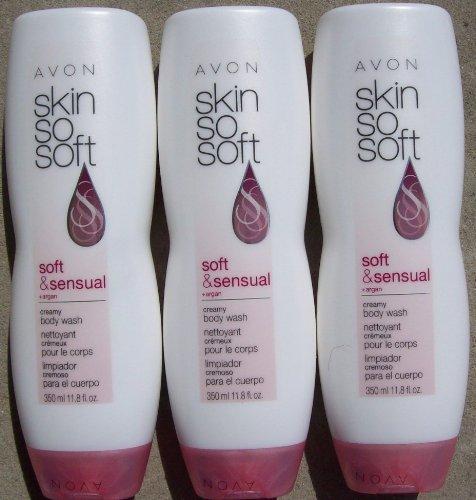 Avon Skin so Soft Creamy Body Wash Soft & Sensual 11.8oz. Argan Oil Lot of 3