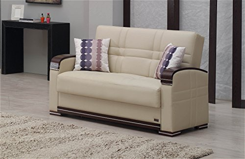 Empire Furniture USA Fulton Collection Living Room / Guest Room Convertible Loveseat with Storage Space, Includes 2 Pillows, Beige
