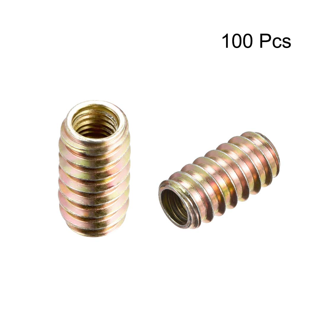 uxcell Furniture Threaded Insert Nut Carbon Steel M8 Internal Thread 25mm Length 20pcs